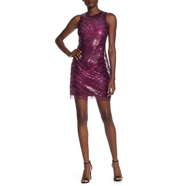Item - Purple Sleeveless Sequin Shift Short Cocktail Dress Size 2 (XS)
