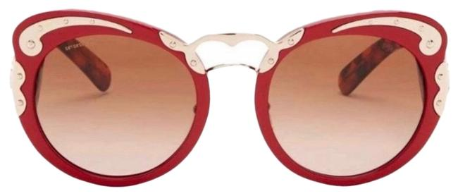 Item - Red Havana Gold Minimal Baroque Sunglasses