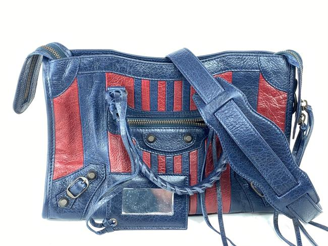Item - Bicolor Small City 2way with Strap Navy Red 2bal73 Blue Leather Shoulder Bag