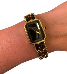 Chanel Vintage Chanel Premiere Gold Plated Black Lambskin Leather Wrist Watch