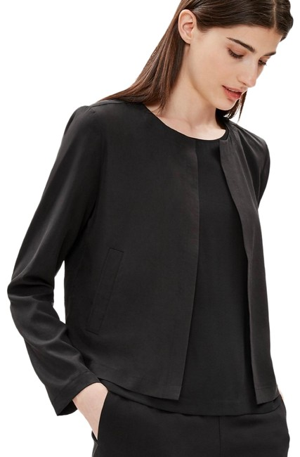 Item - Black Sandwashed Tencel Round Neck Jacket Size 6 (S)