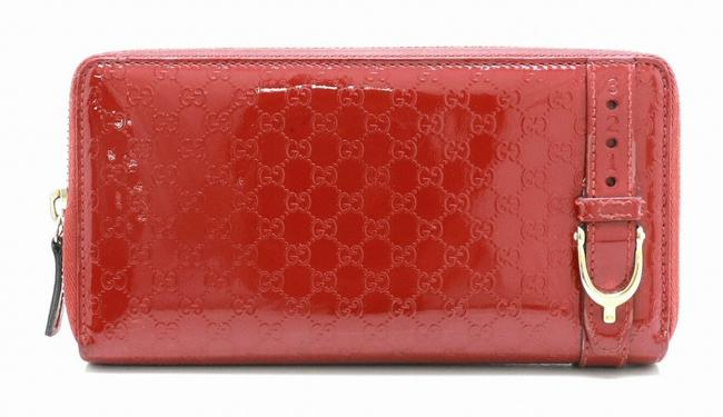 Item - Red Color Long Nice Micro Shima Round Zip Leather Patent 309758 Wallet