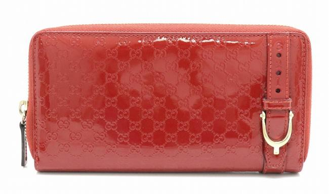 Item - Red Color Long Nice Micro Shima Round Zip Patent Leather Enamel 309758 Wallet