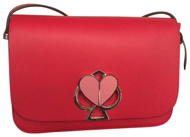 Item - Heart Red Leather Says Specially Treated To Protect From Scratches Cross Body Bag