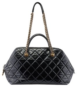 Chanel Bowler Chain Leather Tote in Black