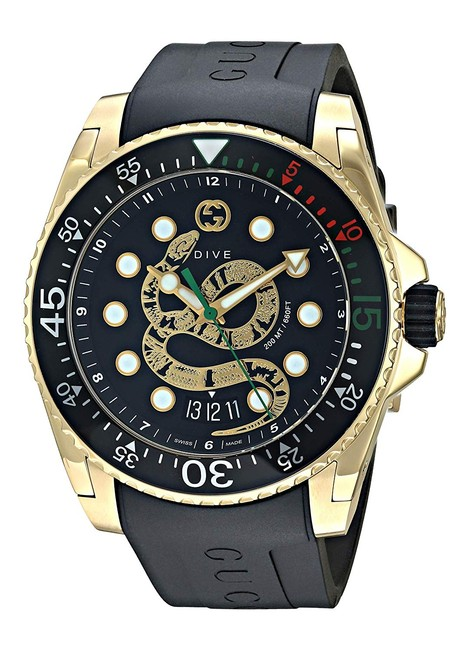 Item - Gold | Black Stainless Steel Rubber Strap Mens Dive Ya136219 Watch