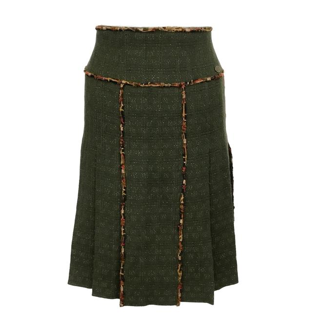 Chanel Olive Wool Flare Jupe Skirt Size 6 (S, 28) Chanel Olive Wool Flare Jupe Skirt Size 6 (S, 28) Image 1