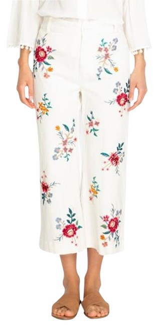 Item - White/Multi Light Wash XS New Veronique Embroidered Flowers Trouser/Wide Leg Jeans Size 28 (4, S)