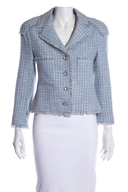 Item - Blue Light Vintage Tweed Pattern Notch-lapel Blazer 44 Jacket Size 6 (S)