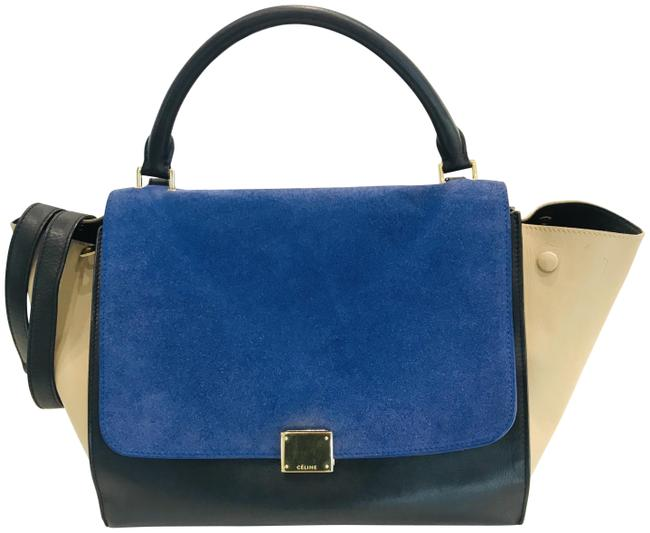 Item - Trapeze Smooth Calfskin Suede Small Tri-color Blue Leather Tote