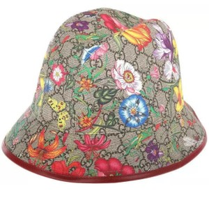 Gucci NEW GUCCI CURRENT GG SUPREME CANVAS FLORA PRINT FEDORA BUCKET HAT SMALL