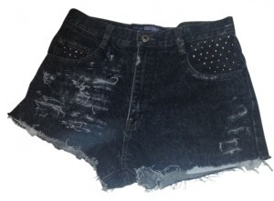 Vintage High-waisted Studded Cut Off Shorts black