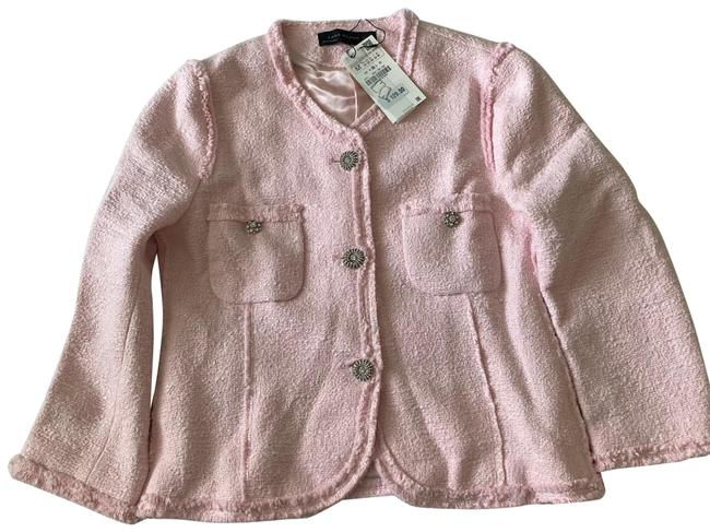 Item - Pink Tweed Coat with Removable Cuffs Blazer Size 8 (M)