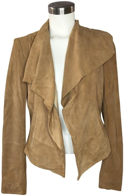 Item - Tan Suede Ruffle Front Jacket Size 10 (M)