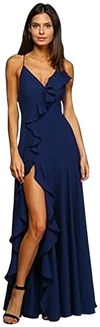 Item - Navy Blue Ruffle Lace-up Back Gown Long Formal Dress Size 6 (S)