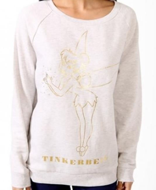 Preload https://img-static.tradesy.com/item/27590/forever-21-oatmeal-with-gold-design-tinkerbell-sweaterpullover-size-4-s-0-0-650-650.jpg