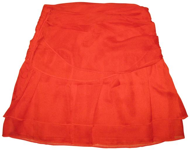 Item - Red Chiffon Tiered Wrap Skirt Size 4 (S, 27)