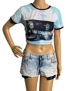 YMI Jeans Distressed Exposed Flag Cut Off Shorts White