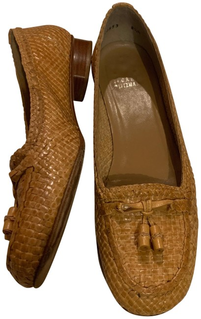 Item - Tan Woven Leather Loafer with Tassels Flats Size US 8.5 Regular (M, B)