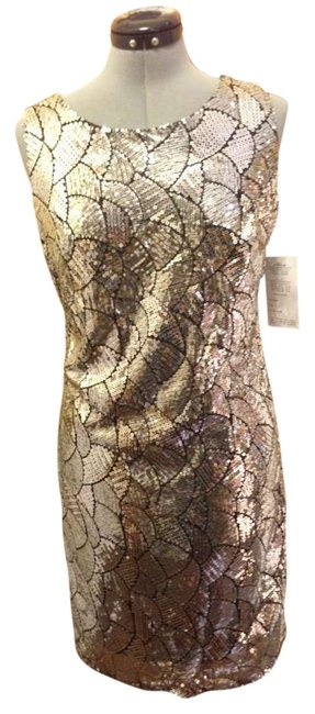 Item - Black & Silver Party Night Out Sophisticated Above Knee Cocktail Dress Size 4 (S)