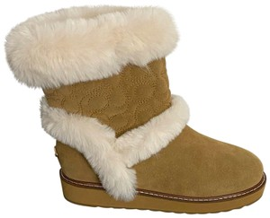 Coach Shearling Brand Rubber Soles Suede Peanut Brown Boots