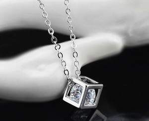 Silver Mother's Day Bridesmaid Zircon Cube Cubic Zircon Bridesmaid Gift Necklace
