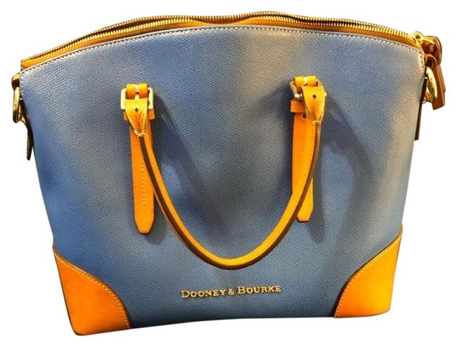 Item - Claremont Domed Blue and Tan Leather Satchel