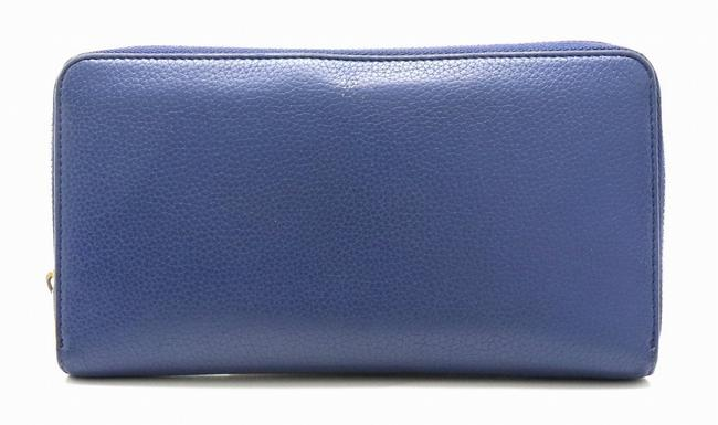 Item - Blue Round Zipper Leather Gold Hardware 105003 Wallet