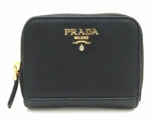 Prada PRADA Prada Round fastener coin case purse SAFFIANO CUIR embossed leather NERO black 1MM268
