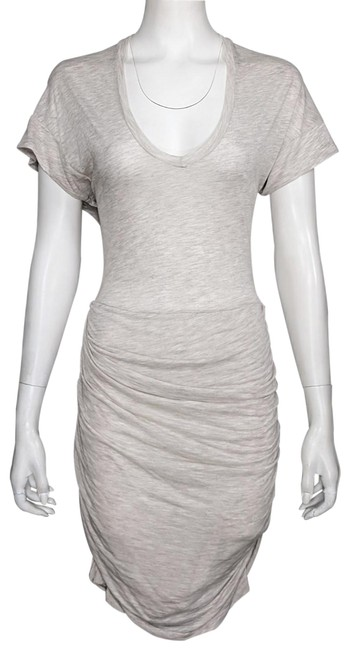 Item - Oatmeal Jersey Viscose/Linen Semi-sheer Shirred Skirt Bodycon Short Night Out Dress Size 8 (M)