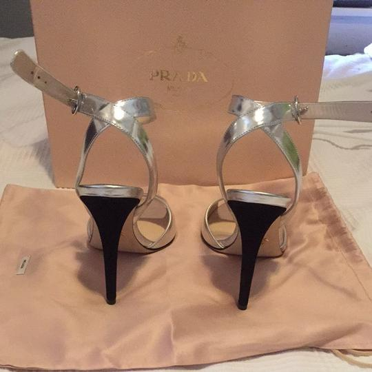 Prada Silver And Black Sandals