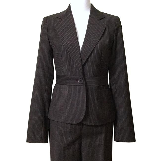 Item - Brown Classic Pinstripe Wool Jacket Modern Pant Suit Size 0 (XS)