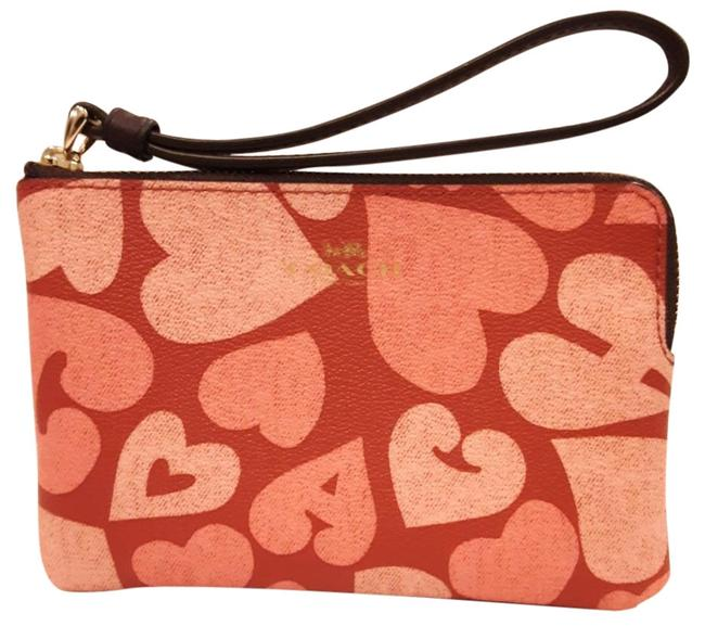 Item - Cch Hrt Crn Zp Pink/Red/Cream Leather Wristlet