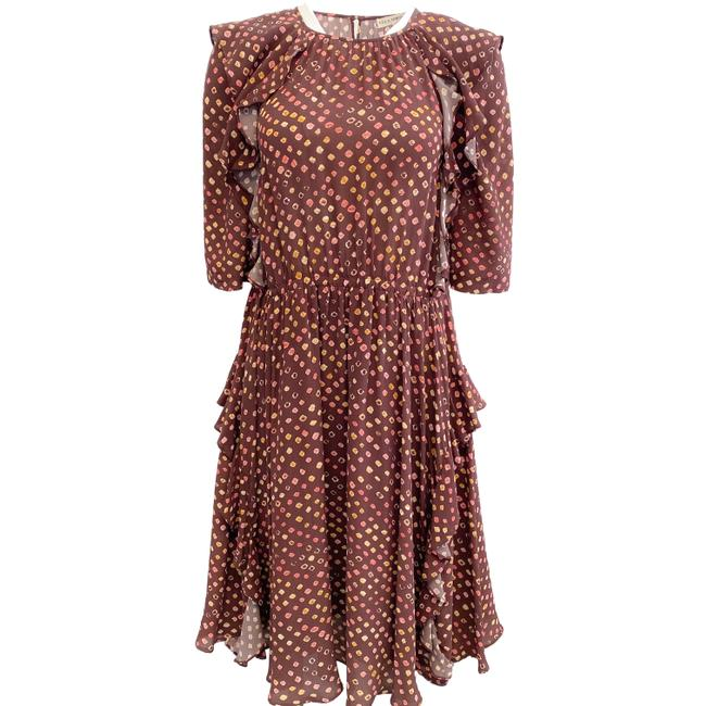 Item - Brown Multi-color Mid-length Work/Office Dress Size 4 (S)