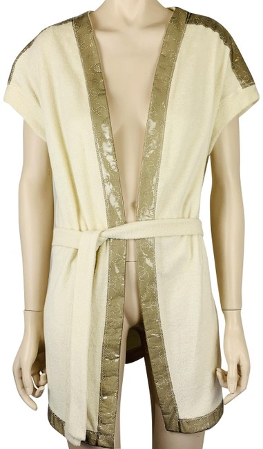 Item - Cream Taupe Beige Cotton Terry Cloth Robe Swimsuit Cover Belted Cardigan Size 10 (M)