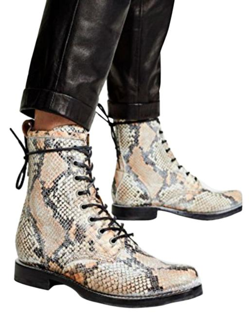 Item - Tan Beige Black Snake Veronica Combat Lace Up Snakeskin Embossed Leather Boots/Booties Size US 6 Regular (M, B)