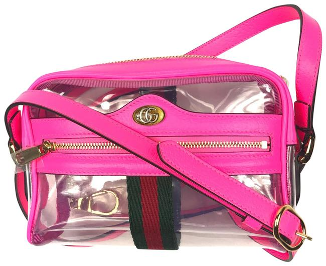 Item - Ophidia Mini #517350 Clear Pink Vinyl and Leather Cross Body Bag
