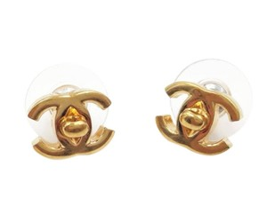 Chanel Chanel Rare Gold Plated Mini CC Turnlock Piercing Earrings
