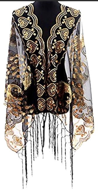 Item - Gold Scarf Mesh Sequin /Shawl Wrap Poncho/Cape Size OS (one size)