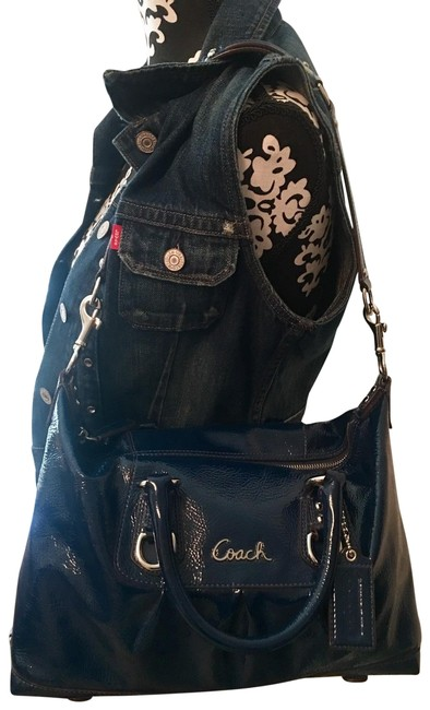 Item - Madison Sabrina Blue with Silver Hardware Patent Leather Satchel