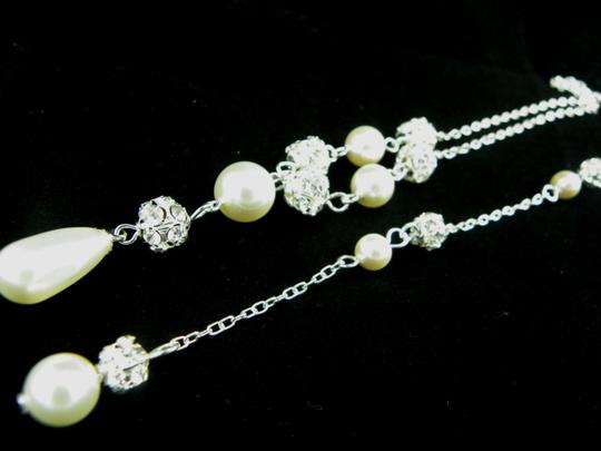 Cream Backdrop Necklace Swarovski Crystal Ivory Pearl Of Necklace and Earrings Jewelry Set