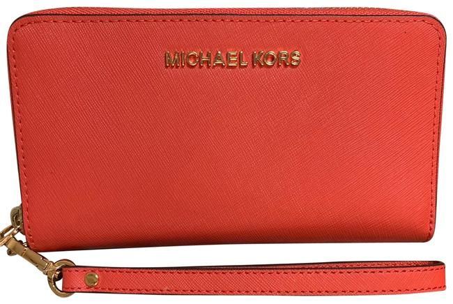 Item - Wallet Large Bright Red and Gold Accent Leather Wristlet