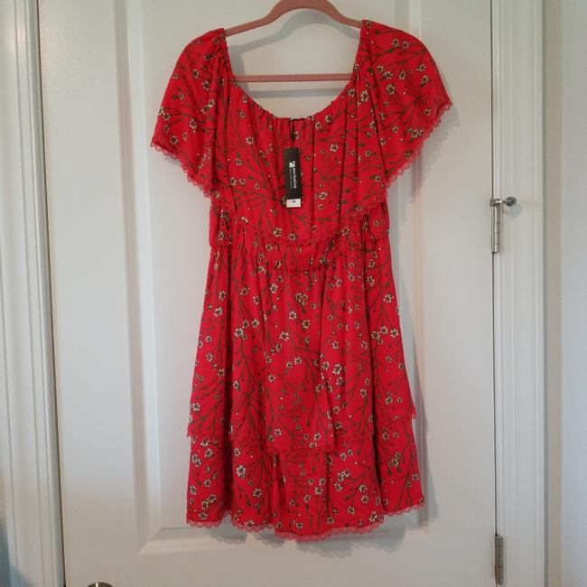 Item - Red with White Daisy Pattern Dainty Cotton Short Casual Dress Size 8 (M)