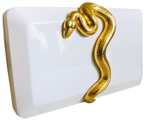 Kilian Snake White and Gold Clutch