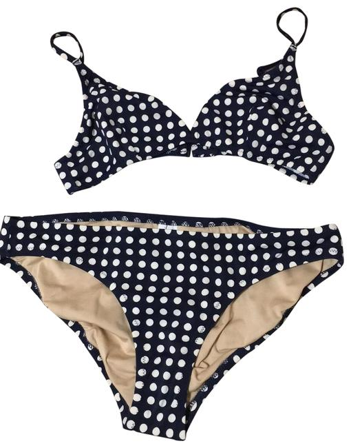 Item - Navy & White Jen Dot Rash Guard and Ser Bikini Set Size 4 (S)