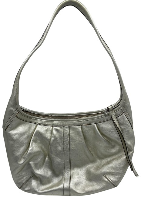 Item - Medium Silver Leather Hobo Bag