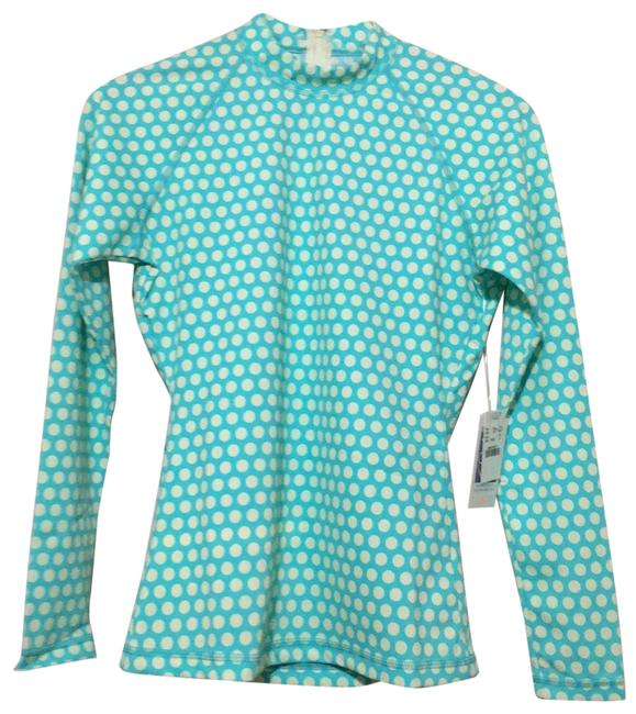 J.Crew Aqua and White Polka Dot Rash Guard Cover-up/Sarong Size 8 (M) J.Crew Aqua and White Polka Dot Rash Guard Cover-up/Sarong Size 8 (M) Image 1