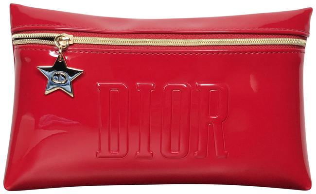 Item - Red Zipper Patent Eco Leather Pouch Cosmetic Bag