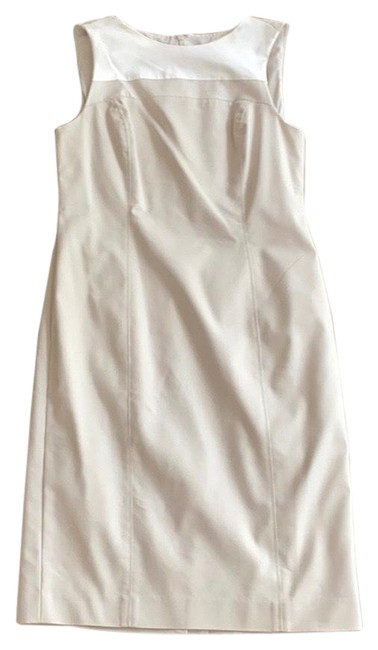 Item - White and Beige Mid-length Work/Office Dress Size 4 (S)