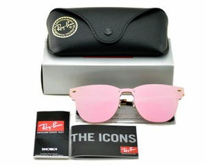Ray-Ban Ray-Ban Blaze Clubmaster Gold Frame Pink Mirror Lens Unisex Sunglasses